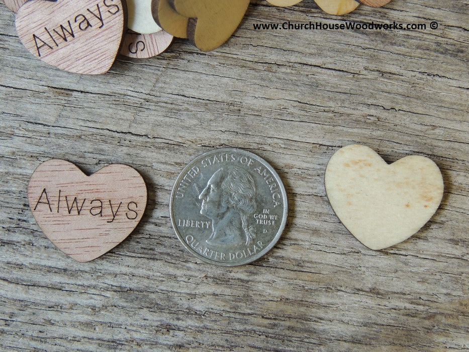 Always Wood Heart with word Always on it Confetti Wedding decorations table scatters decor