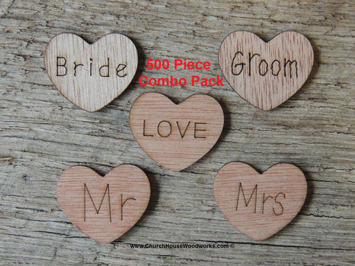 Bride Groom Mr Mrs Love Wood Hearts for Rustic Weddings