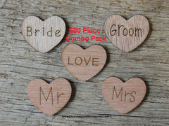 500 Wood Hearts ~ Love, Mr, Mrs, Bride, Groom 1 inch