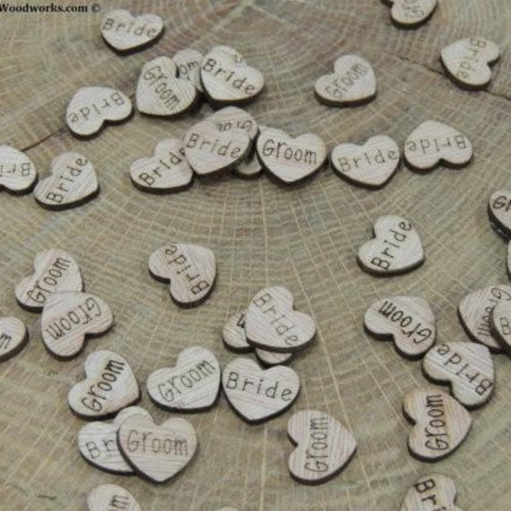 Bride Groom Wood Hearts- Wood Burned- Pack of 100