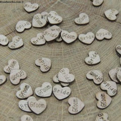 Bride Groom Wood Hearts - 100 ct - 1/2 inch