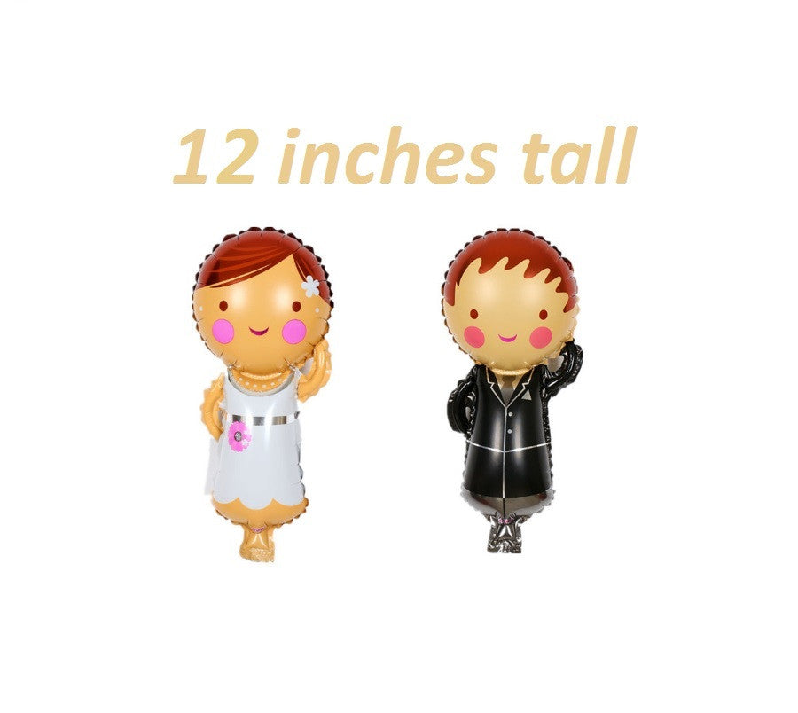 Bride and Groom little people balloons 12 inch tall