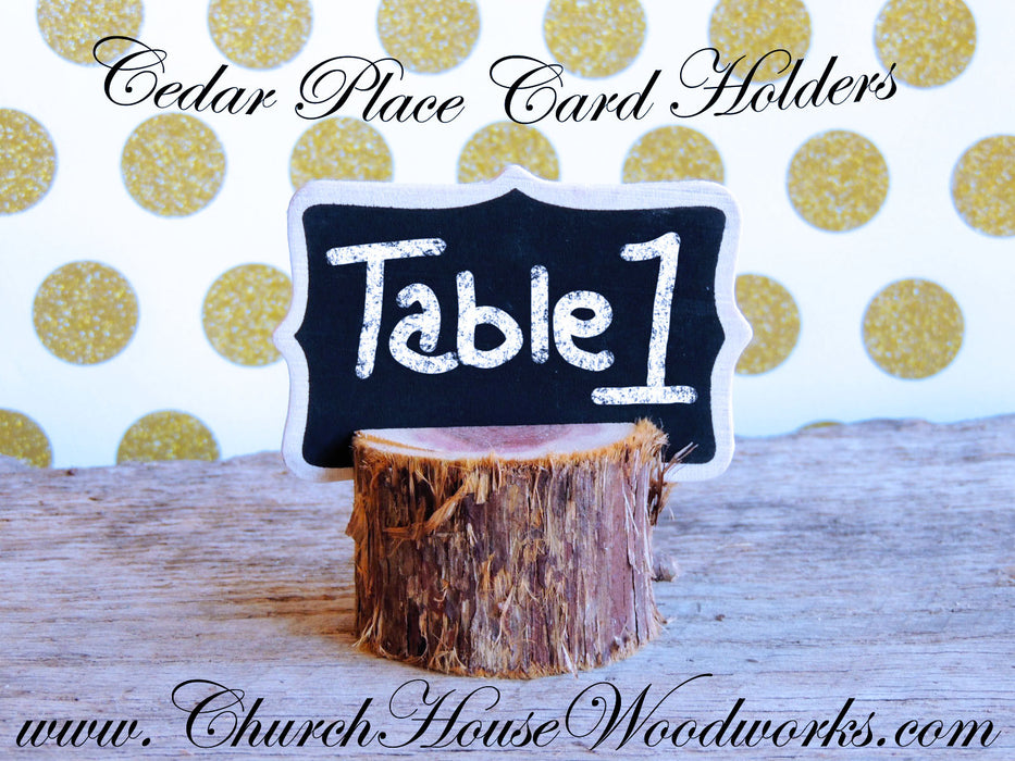 6 Boho Chic Rustic Cedar Place Card Holders