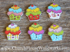 Cupcake Wood Buttons- Pack of 5