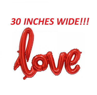 Red cursive love balloon for weddings receptions showers parties valentine's day