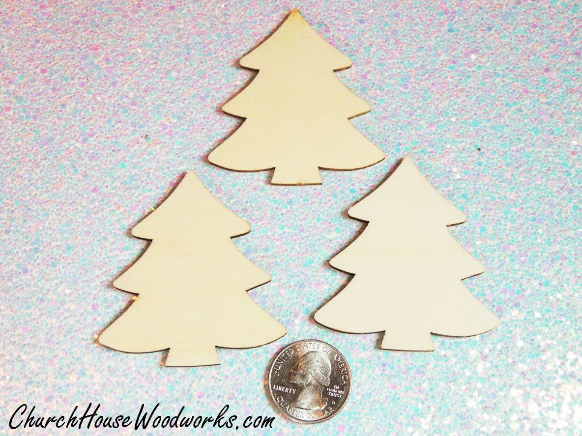 Wood Christmas Tree Ornaments Set Of 25 For Sale Church House Woodworks