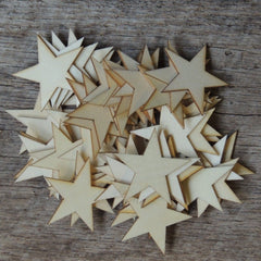 25 -  Wooden Star Christmas Ornaments 2 inch size