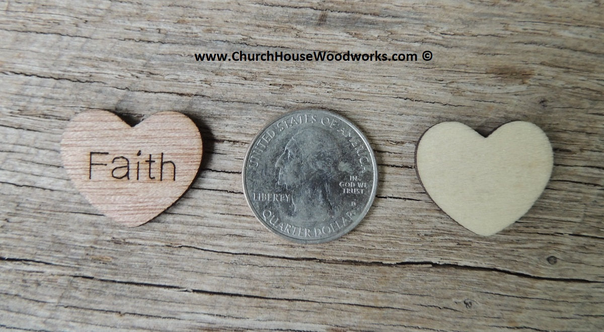 Faith 1 inch wood hearts for rustic weddings receptions decor table confetti