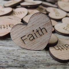 Faith Wood Hearts - 100 ct - 1 inch