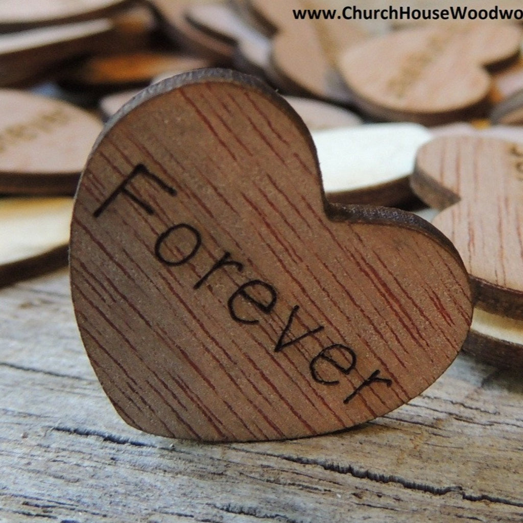 Forever Wood Hearts- Wood Burned 100 count