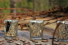 Glittery Silver Gold mercury glass votive holders for rustic weddings glamouros weddings events parties decor