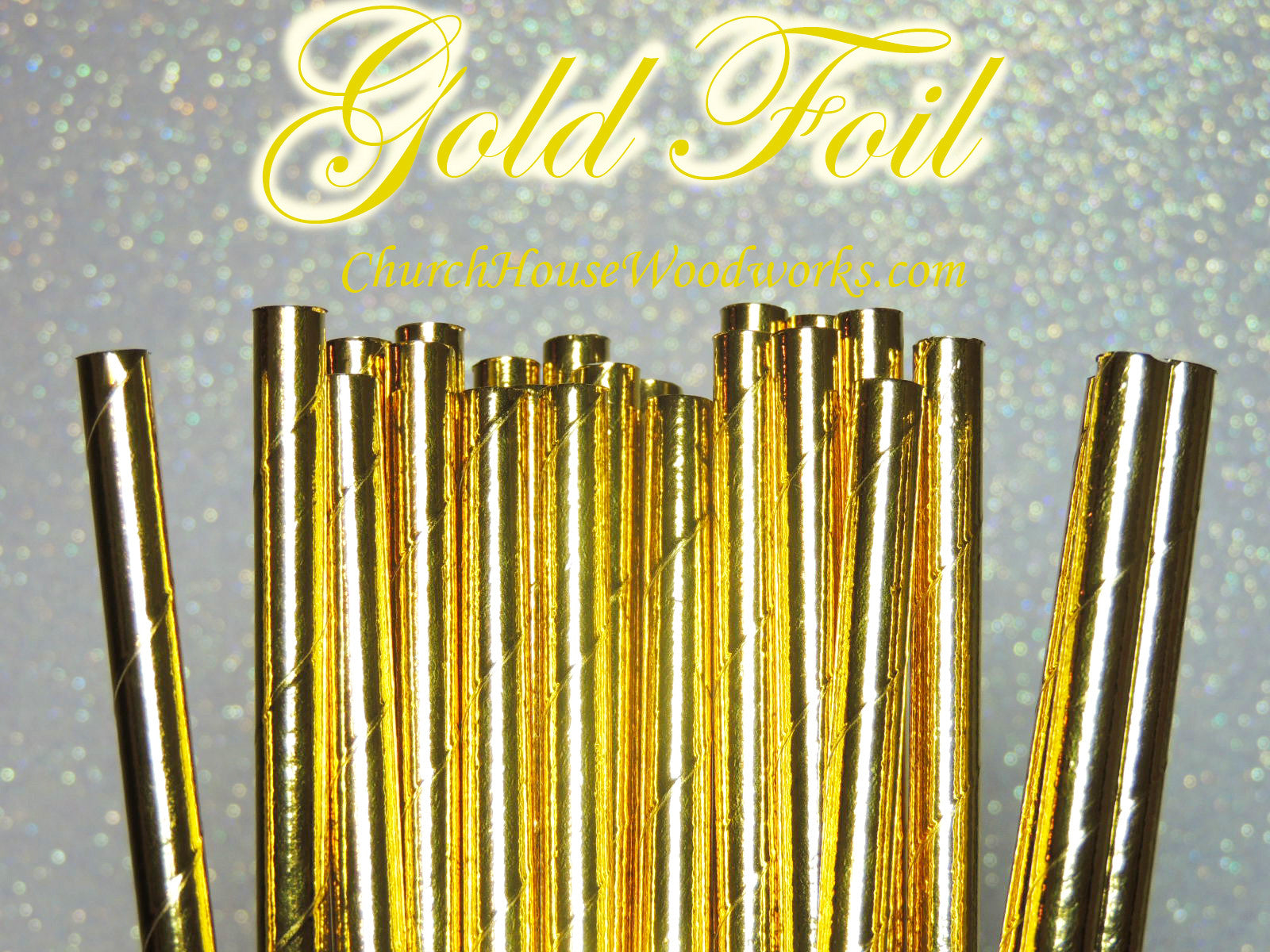 Package of 100 GOLD foil paper straws.  Straw length is 7-3/4 inches.  Color is the reflective foil gold.