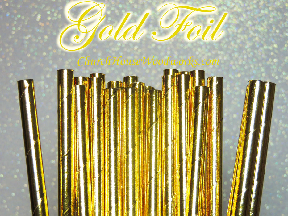 Gold Foil Paper Straws 100 count