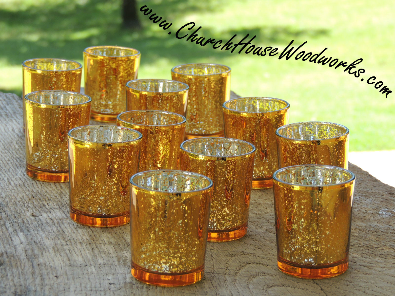 24 Gold Mercury Glass Votive Holders