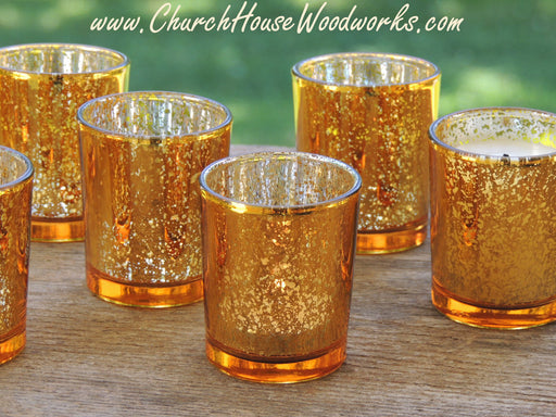 12 Gold Mercury Glass Votive Holders