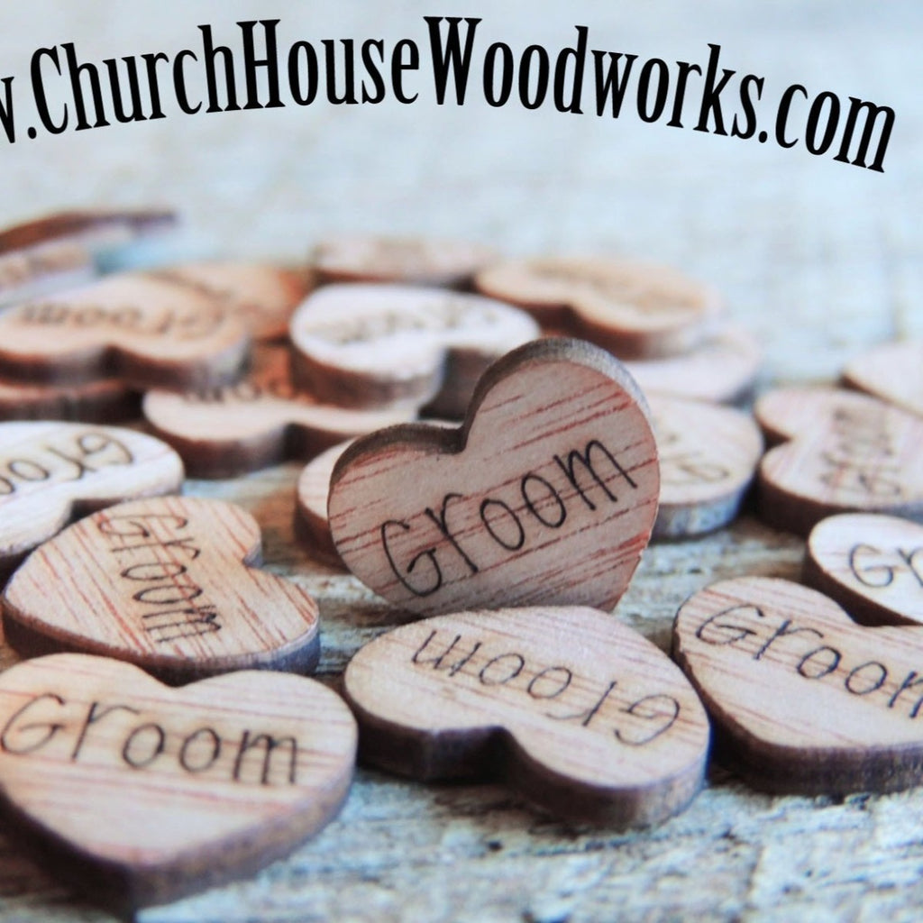 Groom Wood Hearts- Wood Burned- Pack of 100