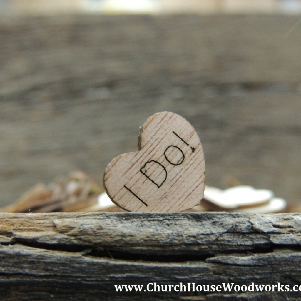 I Do! Wood Hearts- Wood Burned- Pack of 100