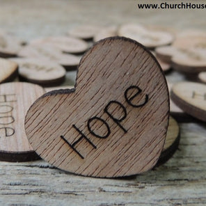 Hope 1 inch wood hearts for rustic weddings receptions decor table confetti