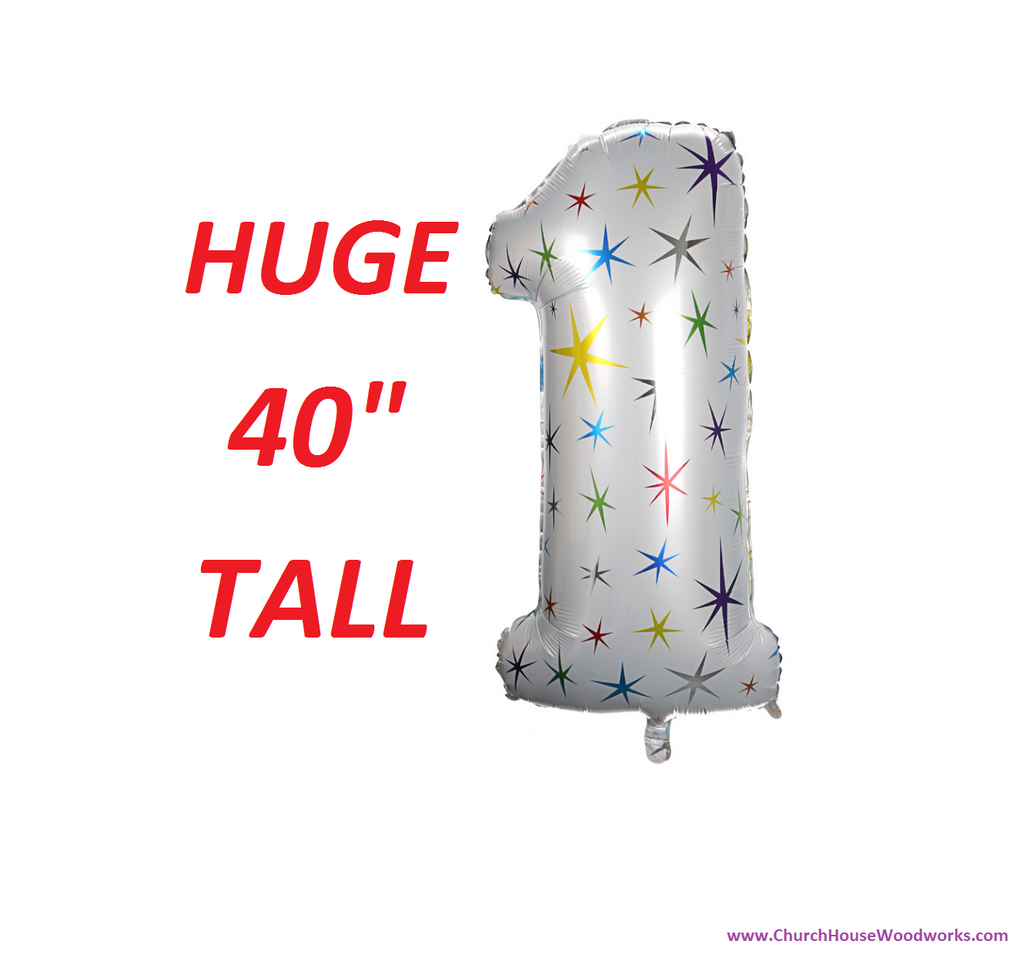 40 Inch Tall Number 1 Balloon White with Stars