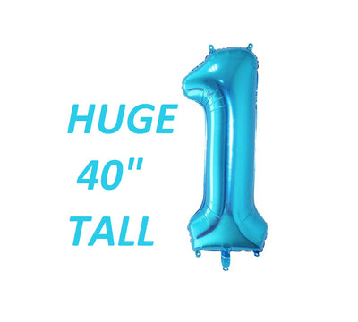 BLUE Giant number 1 one balloon first birthday