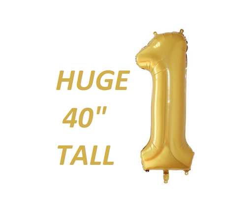 Gold Giant number 1 one balloon first birthday