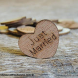 Just Married wood hearts with words on them rustic wedding decor table confetti