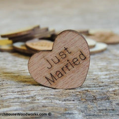 Just Married Wood Hearts - 100 ct- 1 inch