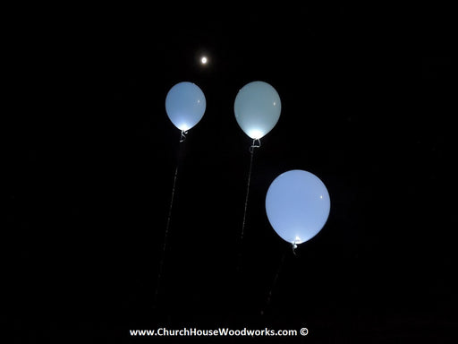 WHITE LED Glow-in-the-Dark Helium Balloons