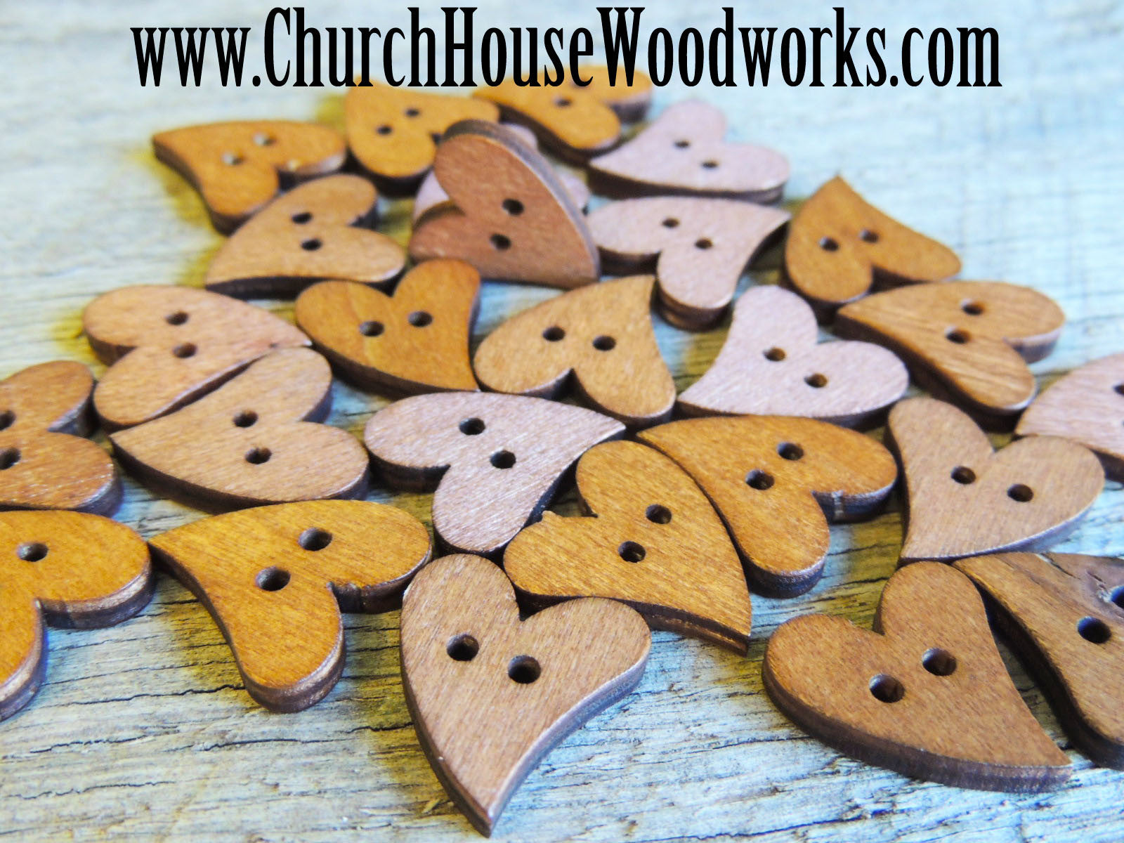 10 Heart Shape Wood Buttons