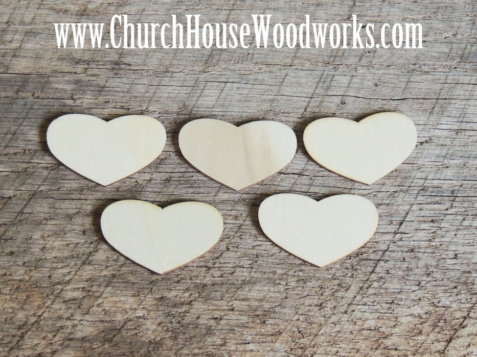 10 Blank Wood Hearts, Wood Confetti Hearts- Rustic Wedding Decor- Table Decorations- Wooden Hearts- Guest Book - Heart Tags, Heart Signs Church House Woodworks