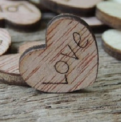 Wood Love Hearts - 1/2 inch