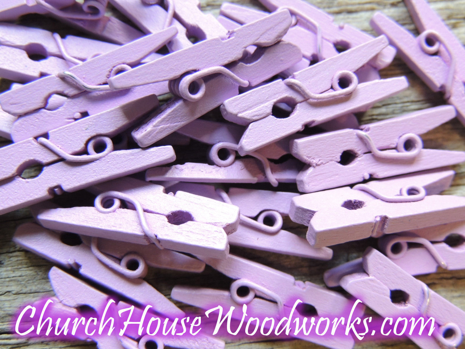 Pack of 100 Mini Lilac Purple Clothespins