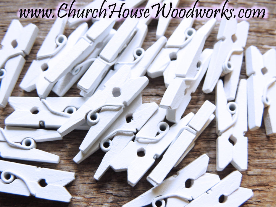 Mini White Clothespins Pack of 100 by ChurchHouseWoodworks.com