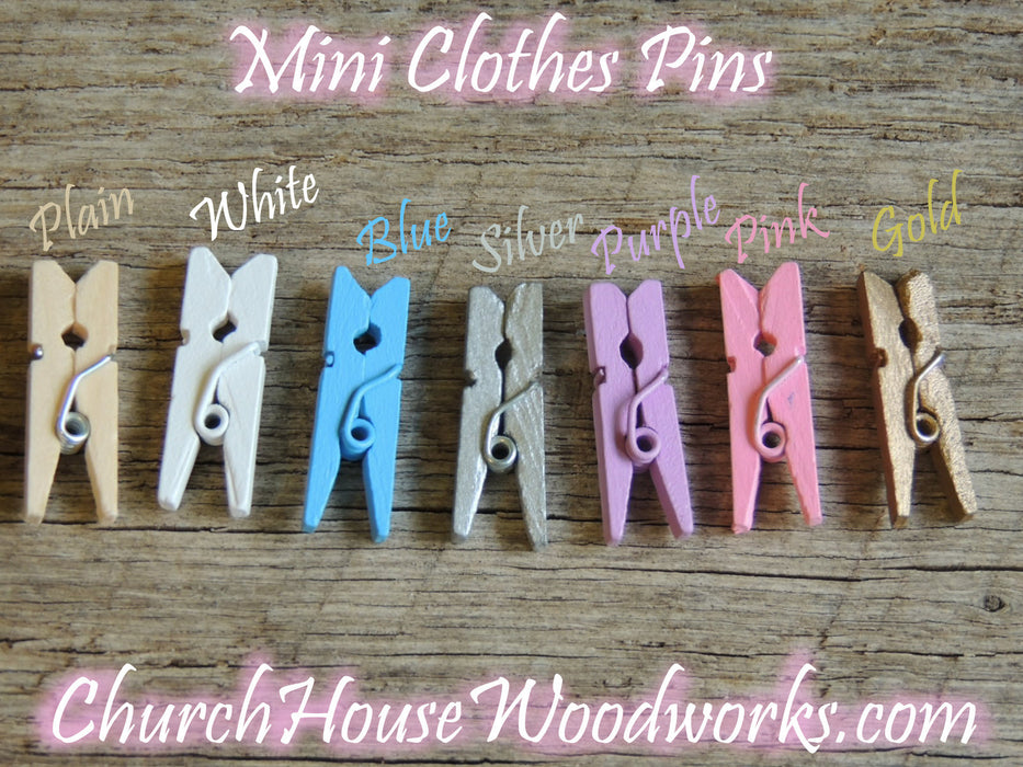 Mini Light Blue Clothespins Pack of 100 by ChurchHouseWoodworks.com