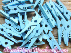 Pack of 100 Mini Light Blue Clothespins
