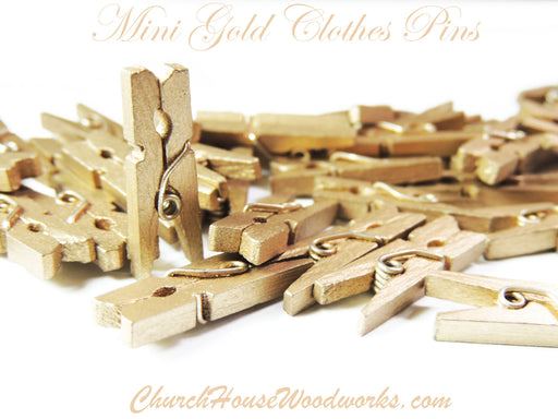 Mini Gold Clothespins Pack of 100 by ChurchHouseWoodworks.com