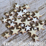 50 Tiny Mini Wood Stars