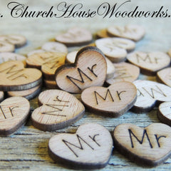 Mr Wood Hearts- Wood Burned- Pack of 100