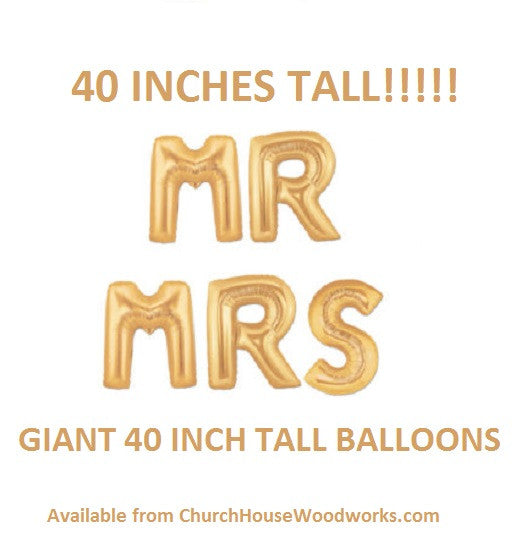 Giant Mr Mrs gold letter balloons for weddings anniversaries showers