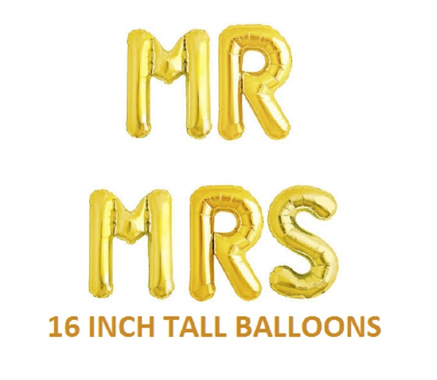 16 Inch Tall MR MRS Balloons Gold