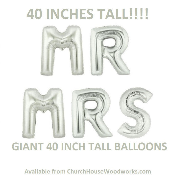 Giant Mr Mrs silver letter balloons for weddings anniversaries showers