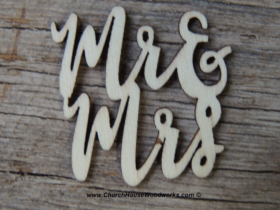 Mr & Mrs cursive wood words letters wedding decor table decorations confetti