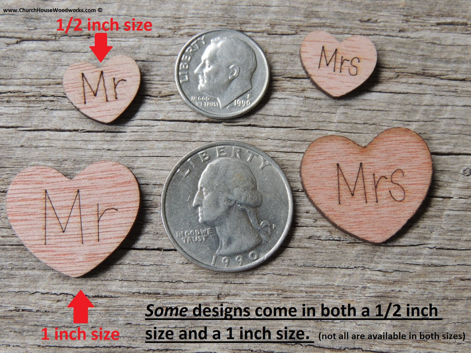 Mr Mrs Wood Mr Mrs Wood Hearts with words on them confetti table scatter wedding decorations MR MRS wedding decor