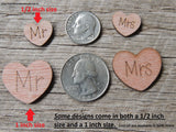Mr Mrs Wood Heart with word Always on it Confetti Wedding decorations table scatters decor