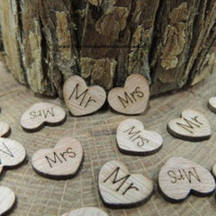 Mr Mrs Wood Hearts - 100 ct - 1/2 inch