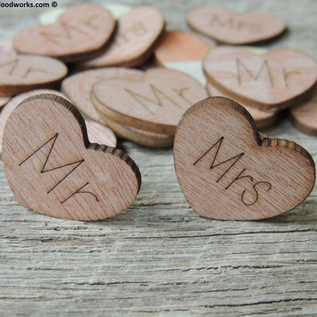 Mr Mrs Wood Hearts- Wood Burned 100 count