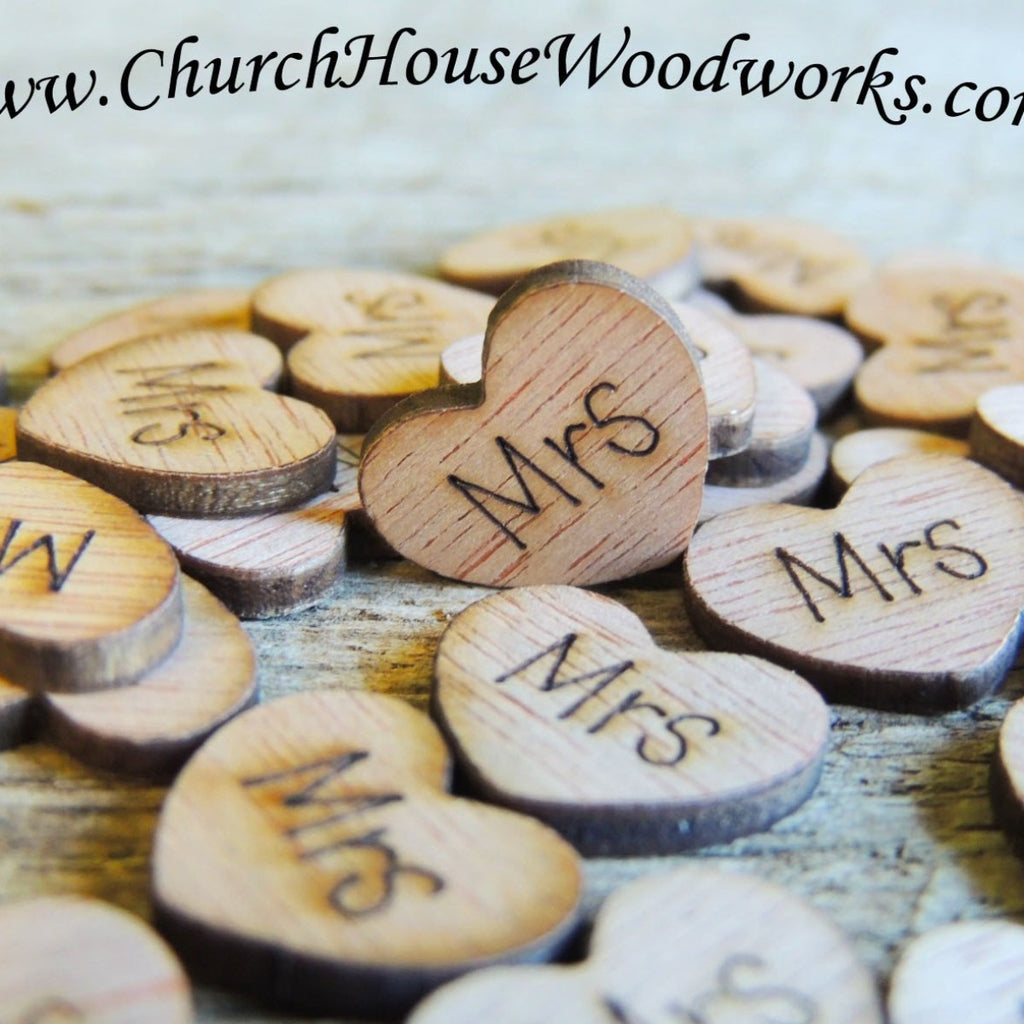 Mrs Wood Hearts- Wood Burned- Pack of 100