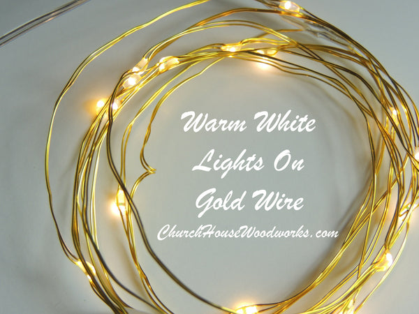 Warm White Lights On Gold Wire Led Battery Fairy Lights