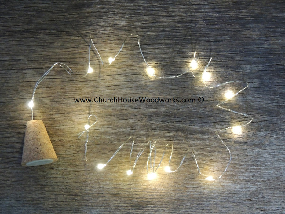 Wine Bottle Lights | Real Cork | Blinking LED Lights ChurchHouseWoodworks.com #winelights #winebottlelights #ledlights #lights #led