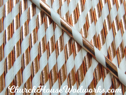 Rose Striped Gold Foil Paper Straws for Weddings events birthdays decorations